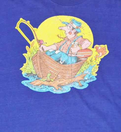 Vintage 70s Drunk Fishing Guy Iron On Jockey Life T Shirt L