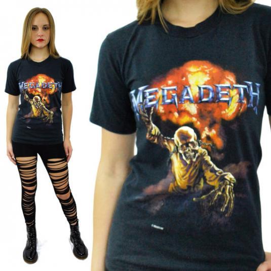 Vintage 80s MEGADETH Vic Rattlehead 1986 T Shirt Sz S