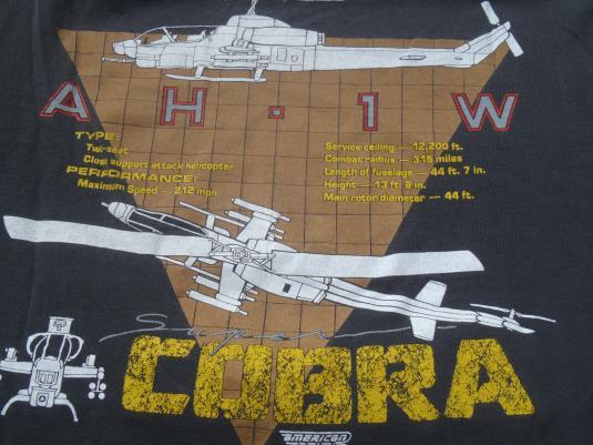 Vintage 1980s Bell AH-1W Super Cobra Helicopter T-Shirt XL