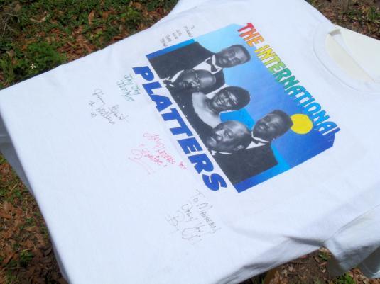 Vintage 1997 The Platters Autographed Tour White T Shirt L