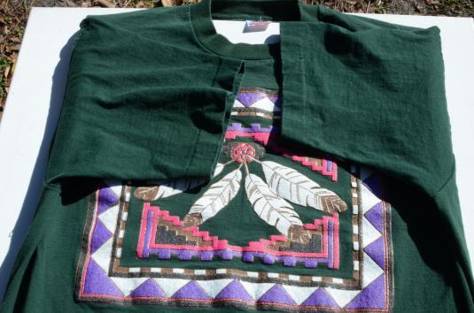Vintage 1990s Southwestern Print Green Cotton T Shirt XL