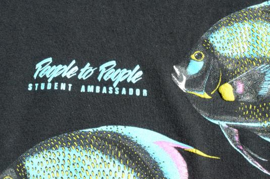 Vintage 1980s People to People Tropical Fish Black T-Shirt L