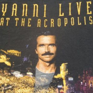 Vintage 1995 Yanni Live at the Acropolis Black T-Shirt XL