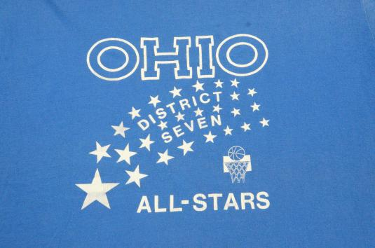 Vintage 1980s Ohio Basketball All Stars Blue T-Shirt XL