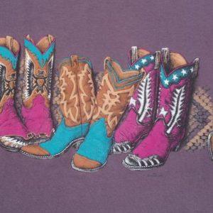 Vintage 1990s Colored Boots Print Plum T-Shirt L