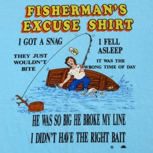 Vintage 1980s Fishermans Excuse Light Blue Novelty T Shirt L