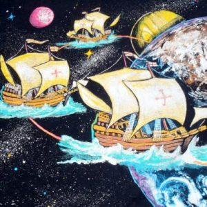 Vintage 1990s Black Columbus in Space Cotton T-Shirt XL