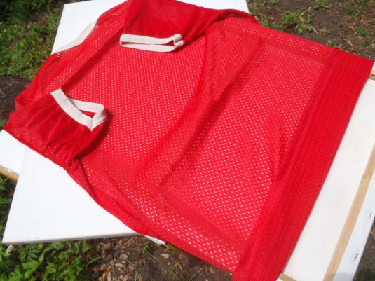 Vintage 1970s Red St. Maartens Nylon Mesh Jersey T Shirt L