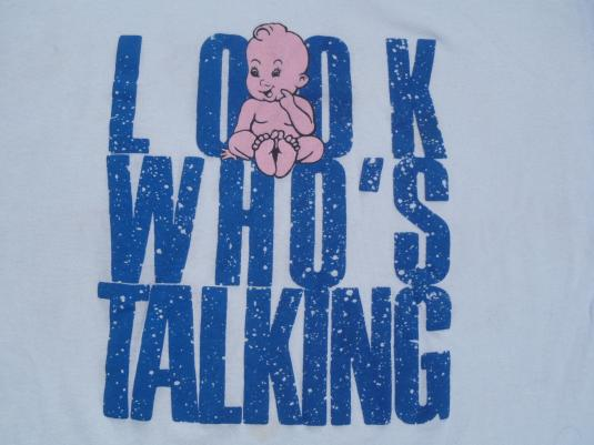 Vintage 1980s Gray Look Who's Talking Movie Promo T-Shirt L
