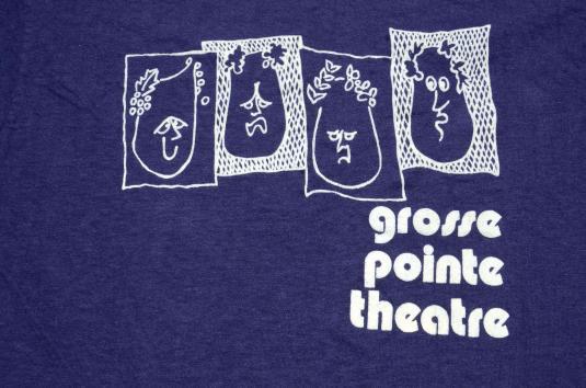 Vintage 1980s Grosse Pointe Theatre Navy T Shirt M