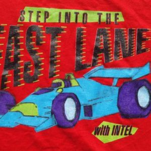 Vintage 1990s Intel Step Into the Fast Lane Red T Shirt XL