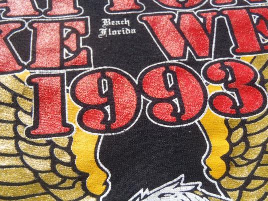 Vintage 1990s Daytona Bike Week Waffle House Black T-Shirt