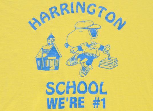 Vintage 1990s Harrington School Snoopy Yellow T-Shirt XL