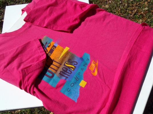 Vintage 1980s Nike Sports and Fitness Company Pink T Shirt L