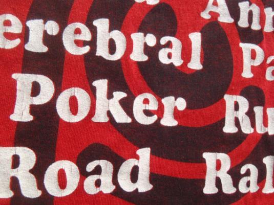 Vintage 1987 Cerebral Palsy Poker Run Red T Shirt L