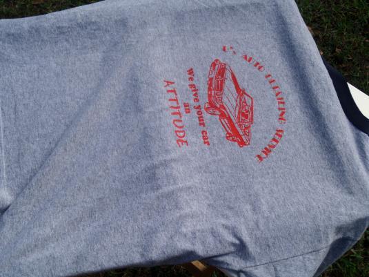Vintage 1970s Heather Gray Auto Shop Ringer T-Shirt L