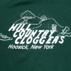 Vintage 1980s Green Cloggers Hoosick New York T Shirt XL