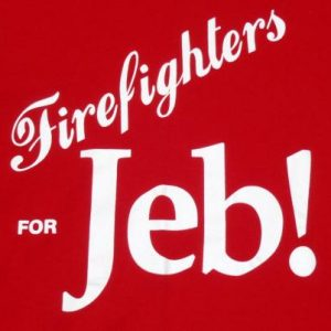 Vintage 1990s Firefighters For Jeb Bush Red T Shirt L