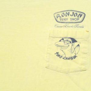 Vintage 1987 Ron Jon Surf Yellow Cotton Pocket T-Shirt L