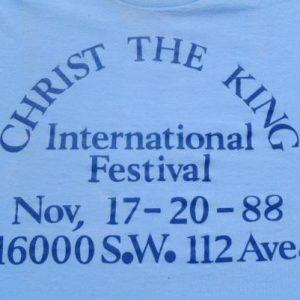 Vintage 1980s Blue Christ the King Church Miami FL T-Shirt S