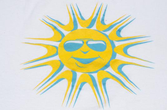 Vintage 1990s Smiling Sun with Sunglasses White T-Shirt L