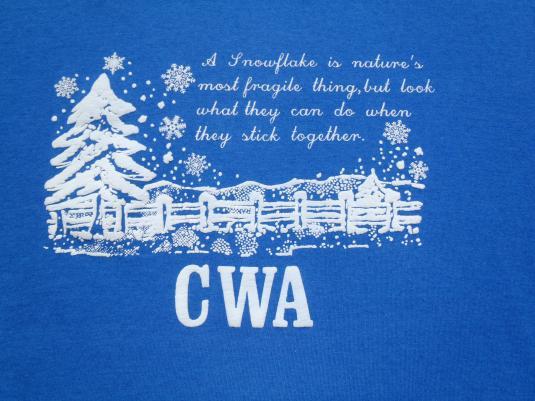 Vintage 1990s CWA Union Snowflakes Blue T-Shirt XL
