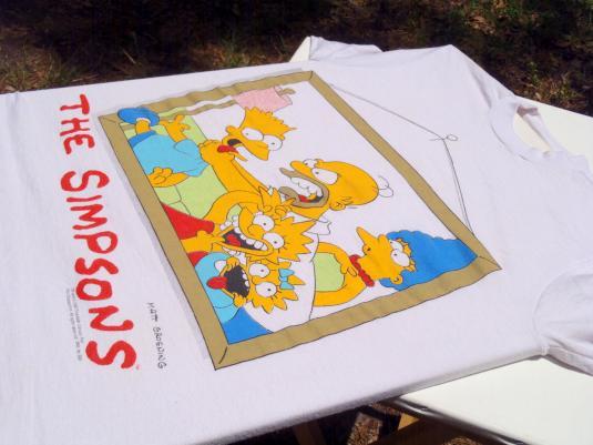 Vintage 1980s White The Simpsons Family Portrait T-Shirt S/M