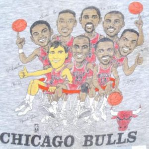 Vintage 1980s Heather Gray Chicago Bulls Lottery T Shirt XL