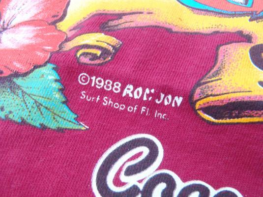 Vintage 1988 Ron Jon Surf Shop Red Cotton Pocket T-Shirt L