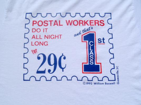Vintage 1990s Postal Workers 29 Cent Stamp White T-Shirt M
