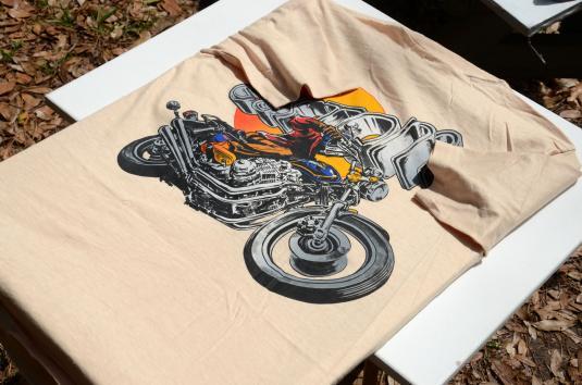 Vintage 1980s Honda Custom Motorcycle Beige Cotton T Shirt M