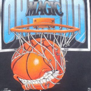 Vintage 1990s Black Orlando Magic Basketball Cotton T Shirt S