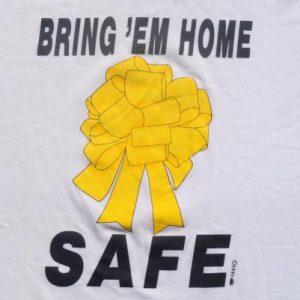 Vintage 1991 Gulf War Yellow Ribbon White T-Shirt XL