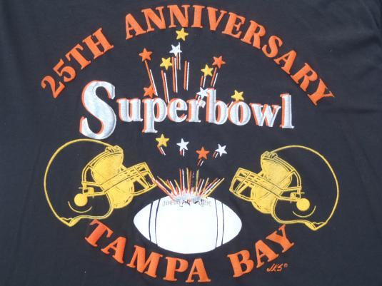 Vintage 1991 Super Bowl XXV Tampa Black T Shirt XL