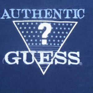 Vintage 1980s Guess Jeans Authentic Embroidered Blue T-Shirt