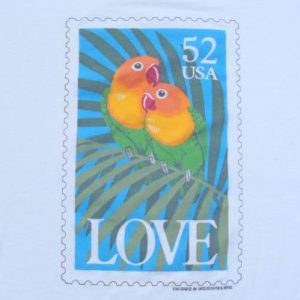 Vintage 1990s Fishers Lovebirds Love Stamp White T-Shirt L