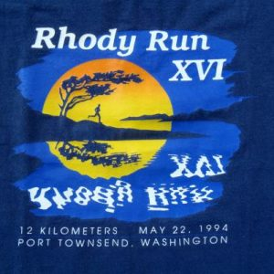 Vintage 1990s Navy Blue Rhody Run Washington Race T Shirt L