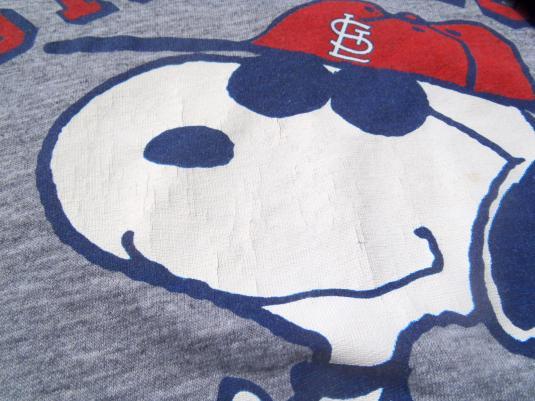 Vintage 1980s Gray St. Louis Cardinals Snoopy Rayon T Shirt L/XL