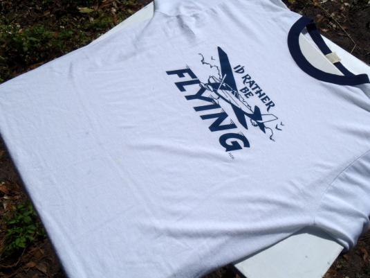 Vintage 1980s I'd Rather Be Flying Cessna Ringer T-Shirt XL