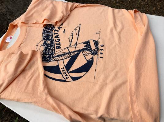 Vintage 1990 BeachFest Regatta Pass-A-Grille Peach T-Shirt