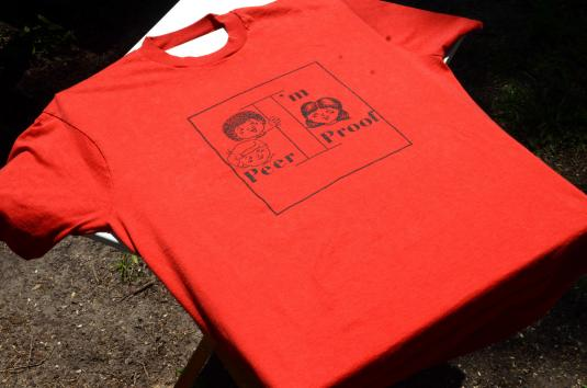 Vintage 1980s Campfire Girls Peer Proof Red T-Shirt XL