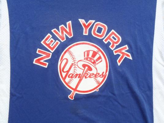 Vintage 1980s Blue and White New York Yankees Jersey T Shirt