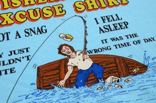 Vintage 1980s Fishermans Excuse Light Blue Novelty T Shirt L