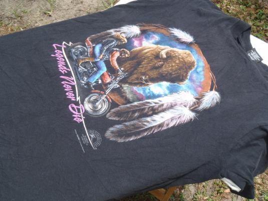 Vintage 1990s Black Motorcycle Buffalo Wonder Lake T Shirt L