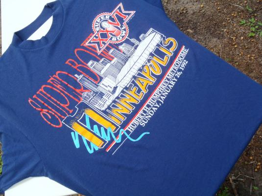 Vintage 1992 Superbowl XXVI Minneapolis Navy Blue T Shirt XL