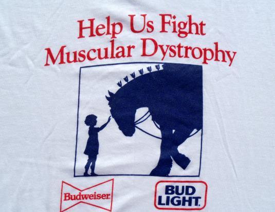 Vintage 1990s Budweiser Clydesdale White Ringer T Shirt L