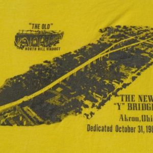 "Vintage 1981 Akron Ohio ""Y"" Bridge Souvenir T-Shirt M/L"