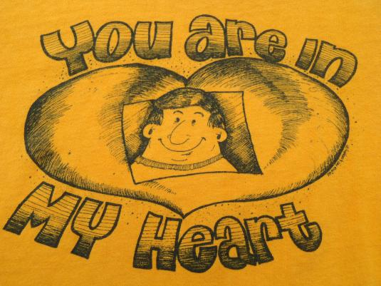 Vintage 1980s You Are in My Heart Yellow Pocket T Shirt L