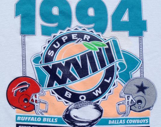 Vintage 1994 White Superbowl Cowboys Bills XVIII T Shirt XL