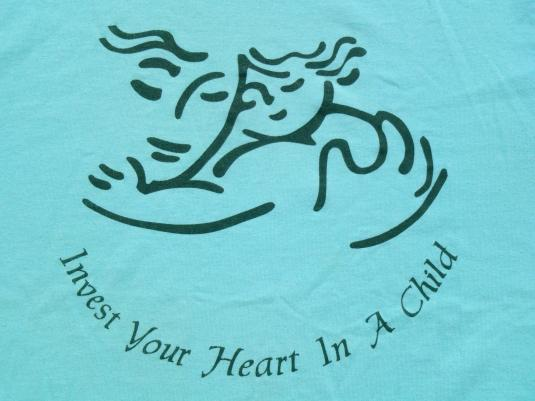 Vintage 1990s Invest Your Heart in a Child Green T Shirt M